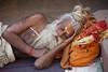 Sleeping Sadhu (Dick Verton ( more than 12.000.000 visitors )) Tags: asia india man saddhu sleep streetlife travel varanasi slapen tas