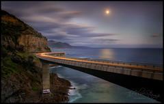 The Rising (Jo Langtry) Tags: 2018 aprils bridge canon5div cartrails coast jan01 jan2018 le leanneo moon mountains night nisifilters nsw seacliffbridge sigma2470f28dgoshsmart