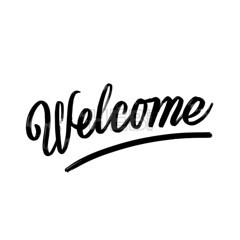 Welcome written phrase, lettering by hand. (Hebstreits) Tags: background banner brush calligraphic calligraphy card decoration design drawing drawn font greeting hand handwriting handwritten headline home illustration inscription invitation invite letter lettering message motivation poster reception retro script sign text type typographic typography vector welcome white word