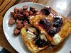 french toast with breakfast sausage (jeffreyw) Tags: blueberrysyrup garlicsausage frenchtoast butter maplesyrup breakfast