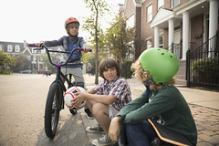 753289529 (evolutionlabs) Tags: 1011years 89years bicycle bikehelmet bikeriding bonding boy boys canada caucasian childhood colorimage curb day elementaryage facetoface focusonforeground friend hangingout holding horizontal leisureactivity lifestyle listening neighborhood northamerica outdoors partofaseries people photography preadolescentchild protection safety sitting soccerball street talking threepeople together tween weekendactivities