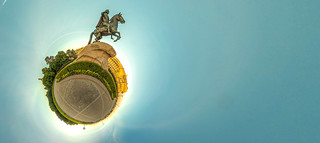 Little planet with bronze hourseman. Russia, St. Petersburg
