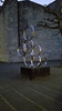 Rings (grinnin1110) Tags: circulationinspaceii zirkulationenimraumii cityhall de deutschland europe germany landeshauptstadt mainz rathaus rheinlandpfalz rheinpromenade rhinepromenade rhinelandpalatinate skulptur vojinbakić art artist dusk evening metalrings outdoor rings sculpture