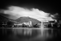 Fine art Bergen (Haraldinhio) Tags: sunrise lake sunset river twilight cityscape bridge skyline dawn dusk landscape black white fine art norway monochrome bergen fineart lille lungegårdsvannet