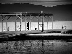 Pier (heinzkren) Tags: mann man schwarzweis blackandwhite monochrome bw panasonic lumix street kai meer sea water ufer wasser landschaft stimmung mood evening streetphotography landscape kroatien croatia malinska