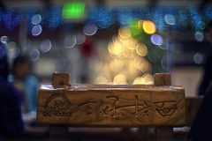 Holiday mood at the noodle restaurant (PeterThoeny) Tags: cupertino sanjose siliconvalley sanfranciscobay sanfranciscobayarea restaurant business chair light lights blur outoffocus depthoffield bokeh sony sonya7 a7 a7ii a7mii alpha7mii ilce7m2 fullframe dreamlens vintagelens canon50mmf095 f095 canon 1xp raw photomatix hdr qualityhdr qualityhdrphotography fav200