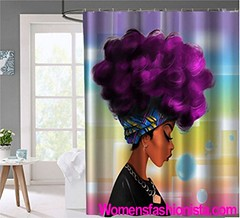 Women Black shower curtain Chengsan African Women with Purple Hair Hairstyle- Waterproof Mildew Resistant Fabric Polyester 100% Shower Curtain. (womensfashionista) Tags: 100 african black chengsan curtain fabric hair hairstyle melaninfeed melaninskin mildew polyester purple resistant shower waterproof women