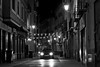 Dark city (Daniel Nebreda Lucea) Tags: city ciudad old street calle antigua vieja night noche luces luz lights light shadows sombras car coche urban urbano noir dark oscuro darkness oscuridad alley callejon fear miedo black white blanco negro monochrome monocromatico zaragoza europe europa long exposure larga exposicion vida life time tiempo late tarde atmosphere atmosfera canon 60d 50mm exploration explorar alone solo shadow sombra streets calles