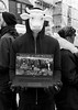 Dairy farming protest, Brighton (chrisjohnbeckett) Tags: dairyfarming protest poltics animalwelfare cow portrait bw blackandwhite street urban brighton monochrome mask screen latop technology chrisbeckett fujifilmx100f photojournalism global activist people