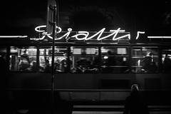 Rialto 106.365 (ewitsoe) Tags: poznan poland ewitsoe canon 6dii 50mm street cityscape rialtojezyce monochrome bnw blackandwhite side window tram people move autumn cold chilly winter night dark commute movie film