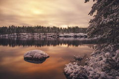 Winter is here (MattiBo) Tags: winter water lake snow cold scandinavia suomi sunrise reflection trees travel tranquil tree nature outdoor finland forest freezing beautiful blue landscape landscapes light longexposure nikon nuuksio nikkor ice rocks colors