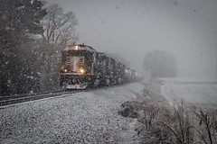 Snowy Sixty (lukeharwell) Tags: conover field emd sd60 norfolksouthern claremont catawba asheville piedmont freighttrain railroad snow