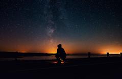 Watching The Show... (free3yourmind) Tags: milky way belarus man selfie watch night sky stars lake lights lamp watching