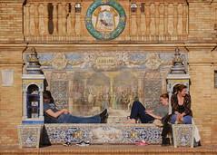 EnJoY. (WaRMoezenierr.) Tags: sevilla spain espana andalucia relax enjoy bank monumnet plaza sleeping slaap street view holiday vakantie tired moe shoes schoenen zapatos toerisme tourism azulejos
