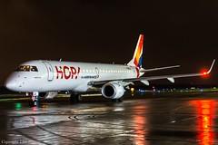 HOP! F-HBLA HAJ at Night (U. Heinze) Tags: aircraft airlines airways flugzeug planespotting plane haj hannoverlangenhagenairporthaj eddv nikon night