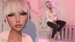 Feel the Love (Ary McAuley) Tags: sl second life fashion blog outfit blonde cute girly pink radiator dark jeans white beige walls light fairy dust sneakers fuzzy sweater pullover winter sweet avaway cynful blueberry mosquitos way laq swallow prtty michan ic poses foxcity cosmopolitan collabor88 liaison collaborative chapter four posevent