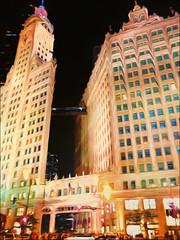 Melting      [view full size] (danielgweidner) Tags: architecture chicago vacation photoart photoshopcs6 lightroom5 liquify nikcolorefx nik viveza2 nikviveza topaz building surreal city melting nightcapture night nightphoto urban downtown