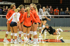 Celebrating a point (RPahre) Tags: bigten b1g pac12 bigtenpac12challenge universityofillinois colorado universityofcolorado volleyball champaign illinois huffhall huff copyrighted robertpahrephotography donotusewithoutpermission