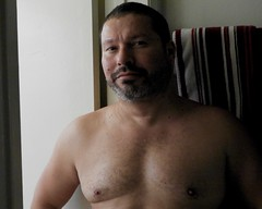 DSCN0429 (danimaniacs) Tags: shirtless man guy selfportrait beard scruff