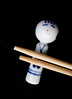 Kokeshi hashioki, rest for chopsticks (Monceau) Tags: hashioki chopsticks kokeshi rest chopstickrest blueandwhite unsmiling stalwart