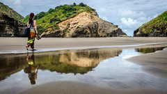 Reflections (Kathrin & Stefan) Tags: beach cloud nature outdoor reflection rock sand sky aucklandwaitakere northisland newzealand kathrin