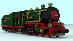 LSM 4-6-2 Rudolf II W.I.P. (The Driving Dutchman) Tags: lsm 462 rudolf ii wip lego ldd ldd2povray trains train povray christmas santa claus north pole snow sign