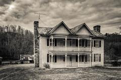 Creamery House_BW (Bob G. Bell) Tags: abandoned creamery house sky clouds wv westvirginia monrow x30 bobbell fujifilm