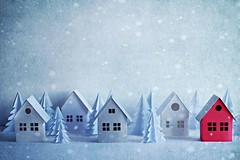 Winter day (Jasenka Arbanas) Tags: paper paperart house modelhouse miniature snow snowing snowflake trees winter