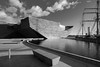Black & White V & A (scrimmy) Tags: scotland dundee waterfront victoriaalbert museum blackwhite mono river tay rrsdiscovery