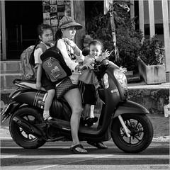 School's out (John Riper) Tags: johnriper street photography straatfotografie square vierkant bw black white zwartwit mono monochrome thailand candid john riper xt2 fujifilm 18135 scooter school kids mum mother smilie moped motorcycle scoopy
