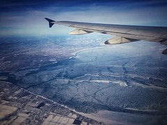 Lake St Clair - Frozen (In Explore - 01/03/2018) (vwcampin) Tags: iphoneography iphoneographer iphoneology iphonology above airplanewing planewing wing airplane plane lakestclair stclair lake frozen winter aerialview aerial