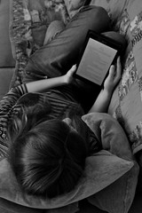 P52 Week 1 | Self-Portrait (Steph*Powell) Tags: selfportrait monochrome reading tablet sofa relaxing nikond5100