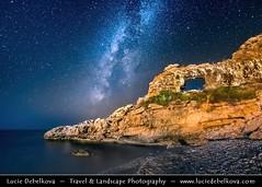 Albania - Dhërmi - Rocky Arch - Night sky with stars & Milky Way (© Lucie Debelkova / www.luciedebelkova.com) Tags: rockyarch dhërmi albania albanian shqipëri shqipëria shqipni shqipnia shqypni shqypnia republicofalbania republikaeshqipërisë albanie albánsko balkans balkanpeninsula southeasteurope europe vlorëcounty al waterscape shoreline shore beach lake landscape nature scenery scenic outdoor outdoors outside sky night nightsky milkyway newmoon star stars astronomy astrophotography lowlight longexposure isosensitivity sea rock water arch rockarch maritime coast adriatic adriaticsea ioniansea mediterraneansea