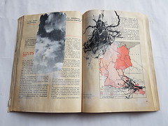 history with roots and clouds (Ines Seidel) Tags: history gdr story roots clouds phototransfer alteredbook storytelling identity heaven sky earth ddr deutschland geschichte german himmel wolken erde wurzeln schulbuch