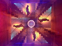 Gravity Wells. (martbarras) Tags: martbarras lightpaint lightpainting nikon d7100 mcescher gravity wells lens capped camera rotation shoreham brighton red blue steelwool gels custom white balance