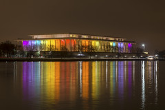 Kennedy Center Lights (johngoucher) Tags: approved water sky river potomacriver washingtondc washington dc kennedycenter georgetown waterfront reflection longexposure rainbow lights illumination kennedycenterhonors georgetownwaterfrontpark sonyimages sonyalpha nightscape cityscape lightscape