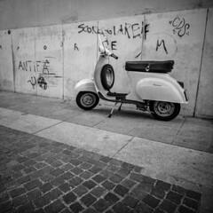 Vespa (Italian Film Photography) Tags: 6x6 biancoenero vespa scooter street italy lifestile blackandwhite bergger pancro400 film analogue brescia