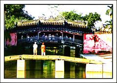postcard - Hoi-An, Vietnam (Jassy-50) Tags: postcard vietnam unescoworldheritagesite unescoworldheritage unesco worldheritagesite worldheritage whs hoian hoianancienttown caupagoda pagoda footbridge bridge people