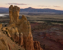Chimney Rock and the Pedernal at Ghost Ranch (Mitch Tillison Photography) Tags: chimneyrock pedernal ghostranch abiquiu southwest desert newmexico geology formation badlands chinle sunset dusk landscape nature outdoors photography mitchtillison nikon okeeffe