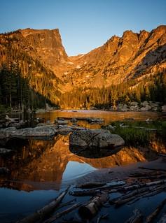 Morning light at Dream Lake, Rocky Mountain National Park.