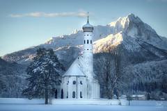 A new day and a new year (Bram de Jong) Tags: church mountains germany bayern bavaria schwangau blue landscape 20172018 outside aurora2018 nikond500 stcoloman alps snow mountain building sky