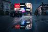 Future's End (Otto Berkeley) Tags: london england uk britain piccadillycircus westend christmasday architecture city buildings car morning early reflections puddle rain billboard citylights clouds moody sombre cocacola tourism landmark shopping traffic wideangle winter chill