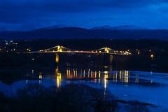 6246 Blue hour - Pont Grog y Borth - Menai Suspension Bridge (Andy - Busy Bob) Tags: bbb bluehour bridge menaibridge menaistraits menaisuspensionbridge mmm pontgrogyborth ppp seawater sss water www