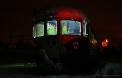 """""""The X driver"""" (MIKAEL82KARLSSON) Tags: lokstallet lokmuseum ljussättning long expo natt nattfoto bangård gasmask night nightshot grängesberg gränges dalarna sverige sweden canon 70d mikael82karlsson"""