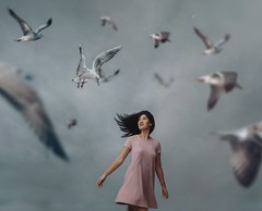 520 Against the Wind (Katrina Yu) Tags: seagulls birds windy conceptual creative concept cinematic art 2017 365project everydays woman selfportrait manipulation