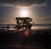 The Peter Iredale waits (Zeb Andrews) Tags: hasselblad500c film mediumformat peteriredale astoria oregon oregoncoast landscape shipwreck kodakportra400 sunset pacificnorthwest pacificocean stopdrivingonthebeaches
