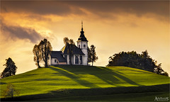 Sv Sobota, Our Lady of Sorrows, Slovenia (AdelheidS Photography) Tags: adelheidsphotography adelheidsmitt adelheidspictures sunset slovenia church hilltop bukovvrh ourladyofsorrows svsobota evening catholic canoneos6d sigma120400 shadows tree trees grass sky landscape