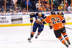 "Kansas City Mavericks vs. Colorado Eagles, December 16, 2017, Silverstein Eye Centers Arena, Independence, Missouri.  Photo: © John Howe / Howe Creative Photography, all rights reserved 2017. • <a style=""font-size:0.8em;"" href=""http://www.flickr.com/photos/134016632@N02/38428187034/"" target=""_blank"">View on Flickr</a>"