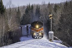 Happy New Years (Thomas Coulombe) Tags: centralmainequebec cmq cmq9017 bangoraroostook bar9017 emdsd402f gmdsd402f sd402f job1 freighttrain train searchlights signals demoroad maine mooseheadsub