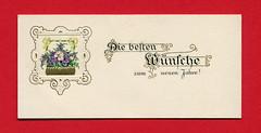 Geprägte Neujahrsgrußkarte mit Blumenkorb (altpapiersammler) Tags: alt old vintage card karte gruskarte grus grüse greeting regards schriftdesign schrift zierschrift geprägt coined lettering